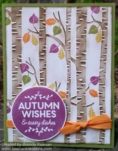 "Using the new ""Woodland"" Embossing Folder and matching ""Among the Branches"" stamp set! More ideas at http://www.keenankreations.com/2015/08/stampin-holiday-catalog.html"