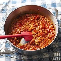 """If you don't have time to bake beans but are still craving this rich side dish, try this shortcut recipe for """"baked"""" beans. No one will ever guess that they're cooked on your stove top!"""