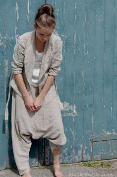 Linen Sarouel Harem Pants / Trousers by KnockKnockLinen on Etsy, £74.00
