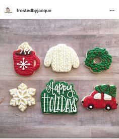 Cute Christmas Cookies, Christmas Cake Designs, Iced Cookies, Cute Cookies, Holiday Cookies, Cupcake Cookies, Christmas Baking, Cupcakes, Buttercream Frosting Cookies