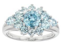 2.44ctw Round Blue Zircon 10k White Gold Cluster Ring