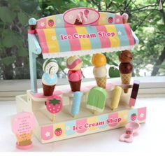 Mother Garden Wooden Toy Ice Cream Shop With Fragrance