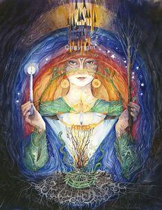 Celtic Goddess Saint Brigid signed matted art print, by Helena Nelson Reed. $120.00, via Etsy.