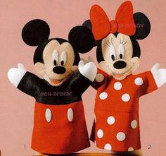 """santo feltro: Fantoches Mickey e Minie. Da série: """"Achei na net"""""""