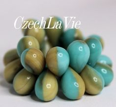 NEW Czech Drops Turquoise and Ivory Drops 001 by CzechLaVie, $3.75
