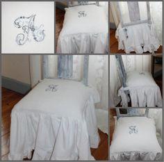 Housse de chaise sur mesure. En linge ancien. Broderie sur mesure à la main. Par Aimable et Suzanne. http://www.aimablesuzanne.fr