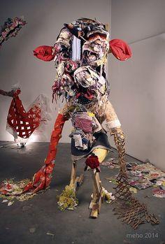 Elisabeth Higgins O Connor - Dosed Textile Sculpture, Soft Sculpture, Textile Art, Sculptures, Waste Art, Assemblages, Mix Media, Mixed Media Collage, Fiber Art