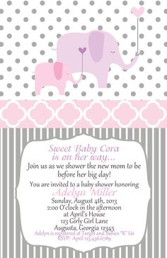 Elephant Baby Shower pink purple and grey