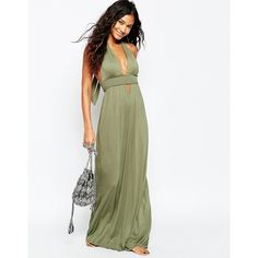 ASOS Jersey Ruched Halter Maxi Beach Dress ($27) ❤ liked on Polyvore featuring dresses, khaki, jersey dress, white jersey, ruched maxi dress, halter neck maxi dress and white ruched dress
