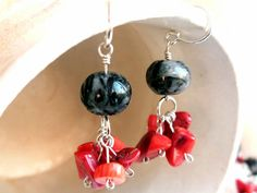 Red coral earrings  Coral bamboo cluster earring  by BGLASSbcn