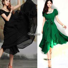 Women Summer Boho Long Dress Evening Party Beach Dresses Chiffon Dress Utar