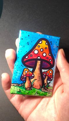 Excited to share this item from my shop: Psychedelic Mushroom Watercolor Magnet, Fantasy Nature Themed Fridge Magnet Gifts Accessories and Kitchen Home decor Simple Canvas Paintings, Easy Canvas Art, Small Canvas Art, Mini Canvas Art, Cute Paintings, Canvas Canvas, Small Paintings, Canvas Ideas, Painting Canvas