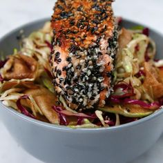 Apple And Cabbage Slaw With Herbed Salmon Recipe by Tasty