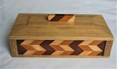 Wooden Trinket Box Zig Zag Effect. - Folksy Jenga Blocks, Wood Anniversary Gift, Zig Zag Pattern, Butcher Block Cutting Board, Mother Day Gifts, Solid Oak, Trinket Boxes, Wooden Boxes, Wood Crafts