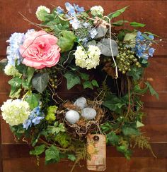 Romantic Spring Wreath- Easter Wreath- Hydrangea Wreath- Bird's Nest- Handmade- Home Decor- Grapevine Summer Door Wreaths, Easter Wreaths, Wreaths For Front Door, Spring Wreaths, Hydrangea Wreath, Blue Hydrangea, Floral Wreath, Snowball Viburnum, Wreath Supplies