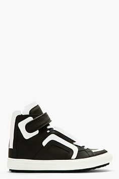 Pierre Hardy Black Leather White Flag High-top Sneakers for men | SSENSE