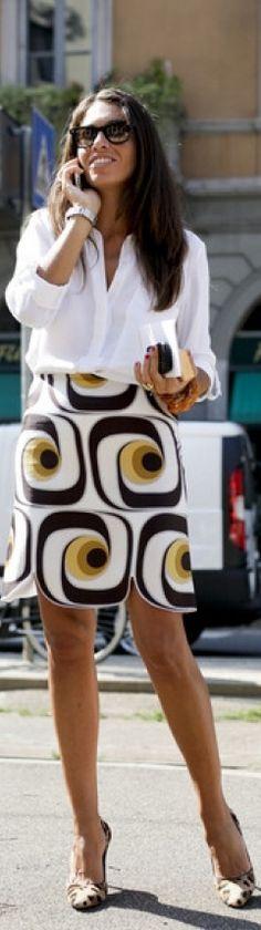 Printed Skirt + leopard print pumps♥✤   Keep Smiling   BeStayBeautifu