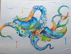 Custom-made Octopus Ocean Painting Acrylics w/ textured Octopus Painting, Jellyfish Painting, Octopus Wall Art, Painting & Drawing, Octopus Bathroom, Jellyfish Drawing, Jellyfish Aquarium, Blue Jellyfish, Painting Canvas