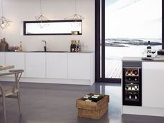 Scandinavian Kitchen, Wine Fridge, Wine Cellar, Home, Modern, Wine Refrigerator, Riddling Rack, Ad Home, Wine Cellars