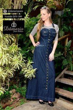 DJV300 - Vestido Jardineira - Dâmaris Jeans Deluxe