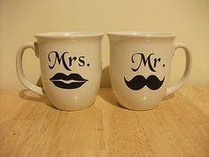 Cute couple mugs tutorial. It would be a cute wedding gift! Diy Wedding Gifts, Wedding Shower Gifts, Wedding Ideas, Wedding Stuff, Dream Wedding, Bridal Shower, Wedding Koozies, Wedding Crafts, Wedding Wishes