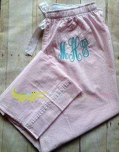 Monogrammed Seersucker Pajama Pants, Monogrammed Pajama Pants, Monogrammed Pink Seersucker Pajama Pants