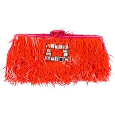 Pre-owned Roger Vivier Embellished Satin Clutch (31.080 RUB) ❤ liked on Polyvore featuring bags, handbags, clutches, orange, preowned handbags, pre owned handbag, handbags clutches, red clutches and purse clutches