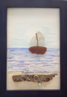 Sea Glass Sailboat Picture Watercolor by TidelineTreasures on Etsy, $35.00