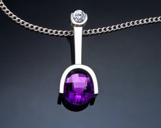 Amethyst Necklace - February Birthstone - Silver Pendant - CZ - Purple Necklace - Tension Set - 3441