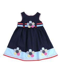 Navy Floral Appliqué A-Line Dress - Toddler & Girls #zulily #zulilyfinds
