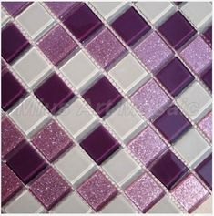 Cheap tile cutter, Buy Quality tile ceiling directly from China tile heat Suppliers: [Mius Art Mosaic] Super white crystal mosaic tile black glass tile marble stone for kitchen backsplash Purple Love, All Things Purple, Purple Stuff, Pink, Glass Mosaic Tiles, Mosaic Art, Wall Tiles, Glitter Grout, Purple Kitchen