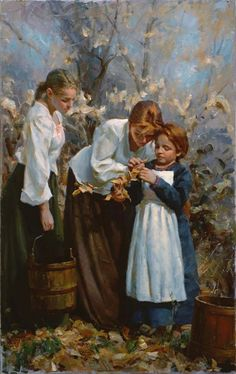 YOUNG SHEPHERD BOY MAN IDLE MOMENT TALKING WITH GIRLS PAINTING ART CANVASPRINT