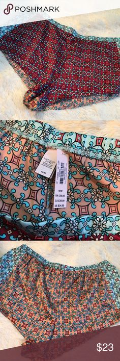 VS Pajama Shorts. Indian Print inspired Shorts. Front of shorts are burgundy with design while the back is a peach colored design! Sides of shorts are mint blue! Victoria's Secret Intimates & Sleepwear Pajamas