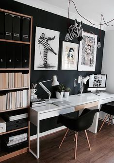 black and white home office, home office ideas, home office design, chic home officeYou can find White office and more on our website.black and white home office, home. Bureau Design, Workspace Design, Office Interior Design, Office Interiors, Office Designs, Modern Interior, Mesa Home Office, Home Office Space, Home Office Desks