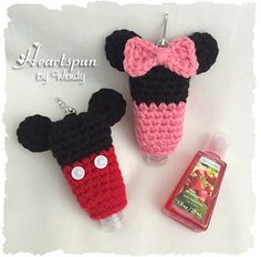 CROCHET PATTERN (Digital File containing instructions) for you to make a cute Mickey Mouse and Minnie Mouse holder for your small hand sanitizer bottles! Instructions given to adjust size to fit bottles ranging from 1 to 2 oz. This would make a cute SET along with my Mickey and Minnie EOS and Lip Balm Holder Crochet Patterns!!