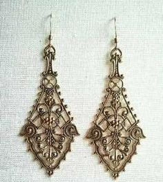 """18k GOLD Vintage Victorian Lace Filigree Scrollwork """"Isolde"""" Earrings - FREE SHIPPING on Etsy, £13.12"""