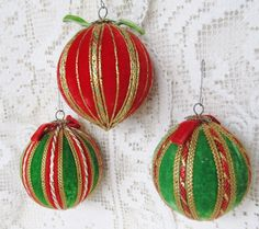 Vintage Lot Of 3 Handmade Red And Green Velvet by AuntSuesVintage