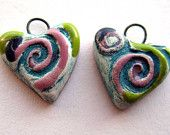 Handmade Charms  Hearts Lime Green, Teal and Pink. via Etsy.