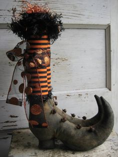 Primitive halloween witch boots w/ black and orange striped stockings by OldeAtticPrims at ETSY