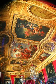Versailles Palace ceiling. When the château was built, Versailles was a country village; today, it is a wealthy suburb of Paris. The court of Versailles was the center of political power in France from 1682, when Louis XIV moved from Paris, until the royal family was forced to return to the capital in October 1789 after the beginning of the French Revolution. (V)