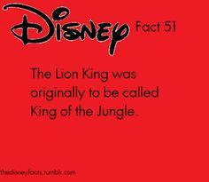Lion King was orignially to be called King of the Jungle Disney Fanatic, Disney Nerd, Walt Disney World, Disney Disney, Disney Stuff, Disney Trivia, Disney Dream, Disney Love, Disney Magic