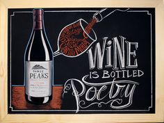 Three Peaks Wine Chalk Art, Wine, Bottle, Flask, Jars