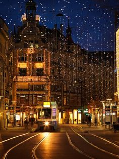 """The """"Bahnhofstrasse"""" decorated with Christmas lights, Zurich, Switzerland. Star Ferry, Decorating With Christmas Lights, Eurotrip, Bosnia, Zurich, Macedonia, Montenegro, Empire State Building, Christmas Time"""