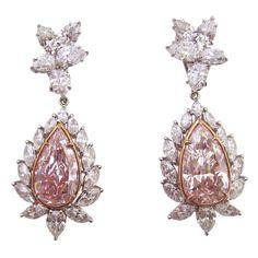 Rare Natural Pink Color Diamond Earrings.