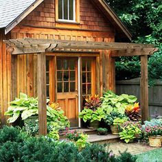 A Pergola can stand alone or attach to another structure.    -- A pergola also offers visual relief to a building's facade; this one breaks up the front of the shed.    -- A pergola's design can be fairly simple -- here, the pergola is constructed from two 4x4s and eight 2x4s with decorative notches cut out of the ends.