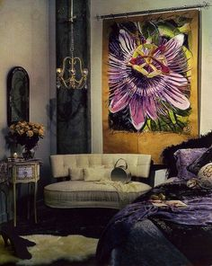 Very richly layered bedroom. Wonderful art.