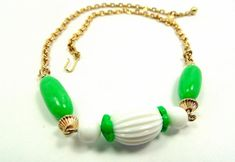 Vintage Avon Green and White Bead Necklace by imagiLena on Etsy
