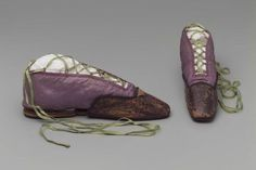 "Pair of woman's shoes with toe protectors. French, about 1810-1830, in the Museum of Fine Arts Boston. [""Toe protectors""? They look similar to 18th c. pattens.]"