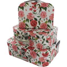 Pink Fl Storage Suitcase Set Of 3 Online From The Works Visit Now