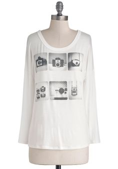 Give It Your Best Snapshot Tee. Your best accessory is the camera you often have necklaced around you, which keeps you ready to capture those photo-worthy moments you keenly spot throughout your day. #white #modcloth